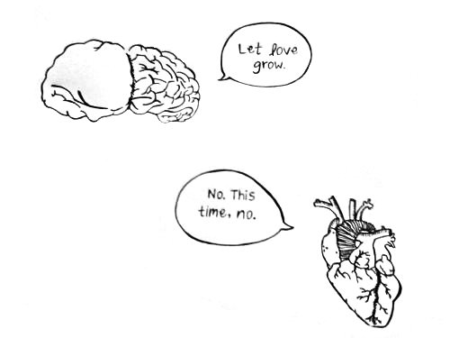 black and white, brain, heart, illustration, love
