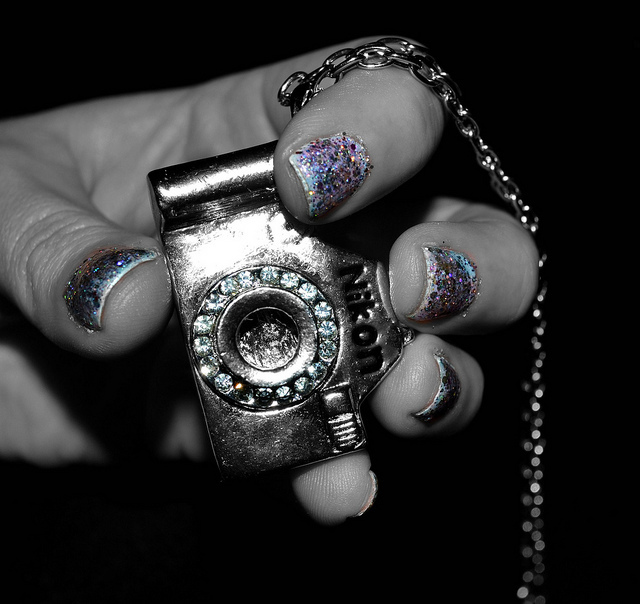 black and white, camera, emily terrell, fashion, glitter