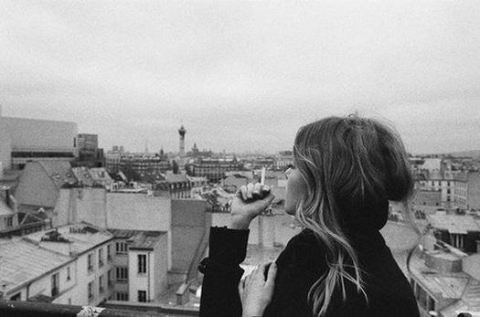 black and white, cigarette, city, girl, smoke