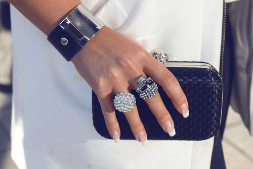 black and white, clutch, fashion, imfancy, nails, purse, ring, rings, skull