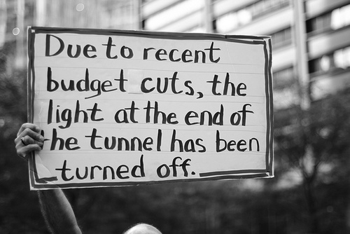 black and white, funny, joke, light at the end of the tunnel, photography, sign, text, words
