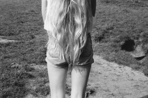 black and white, girl, hair, legs, long hair