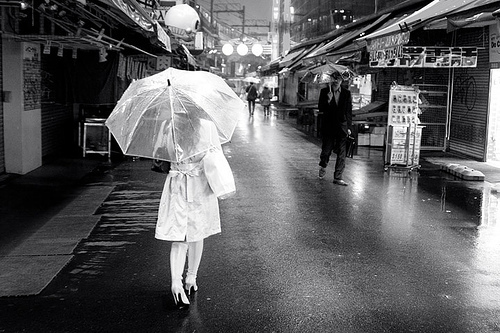 black and white, photography, rain, street, umbrella, vintage