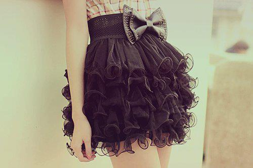 black, bow, fashion, ruffles, skirt