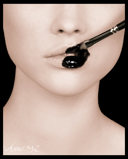 black, brush, girl, lips, nose, paint, teeth