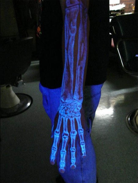 black light tattoo, cool, hand, phosphor, phosphorus