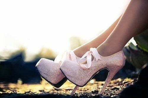 bling, bow, cute, girl, heels, high heels, legs, pink, shoes, sparkle, stylin