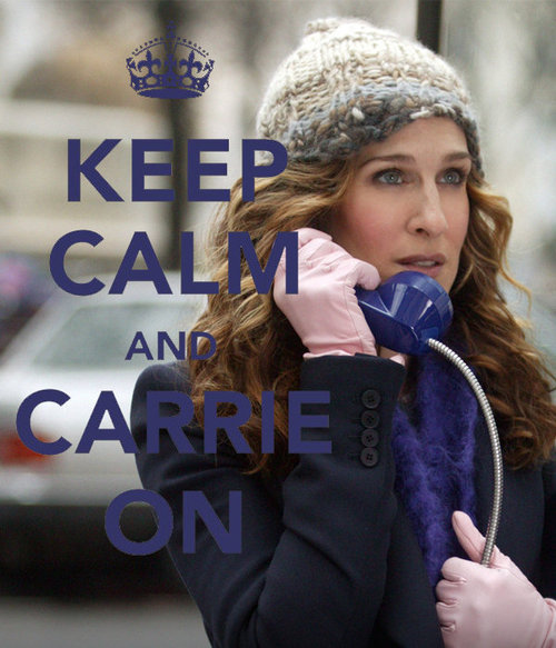 blonde, blue eyes, carrie bradshaw, carry on, cold, curly, funny, glowes, hair, hairstyle, hat, keep calm, letters, lol, outside, photography, purple, sarah jessica parker, scarf, sex and the city, telephone, text, typography