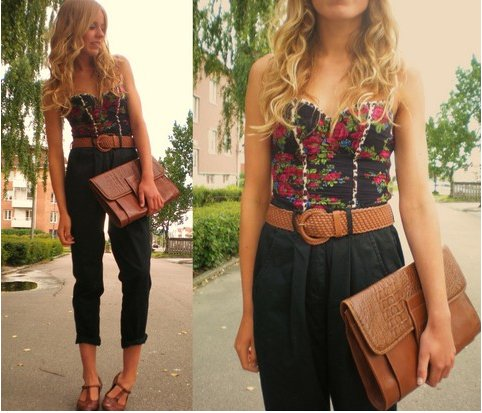 blonde, brown, casual, corset, crop pants