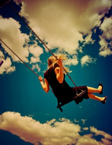 blonde, cloud, clouds, girl, hammock