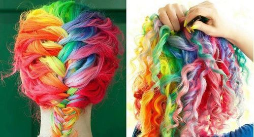 blue, braid, colors, colourful, colours, curls, cute, effort, fashion, girl, green, hair, hairstyle, lol, love, orange, purple, rainbow, red, turquoise, vintage, yellow