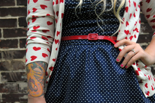 blue, cardigan, clothes, cute, dress, faschion, fashion, fashion clothes, funny, girl, girl tatoo, hearts, hgf, love, octopus, photgrapic, polkadots, pretty, red, tattoo, tattoos, white