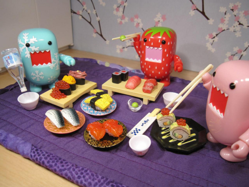 blue, cute, domo, domo kun, food