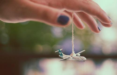 blue, dream, fly, hand, nails, plane, sky, travel