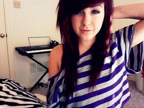 blue, eyes, girl, hair, off the shoulder, piercing, septum, room, white, stripes, webcam, pretty