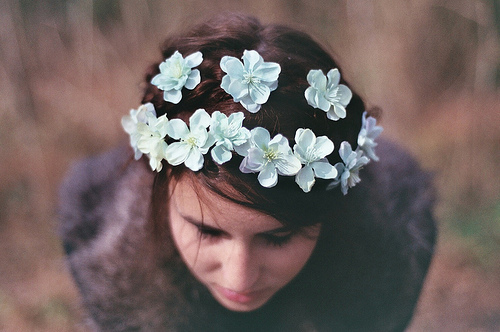 blue flowers, creative, cute, flowers, hair, head, headband, light, nature, photography, pretty, vintage