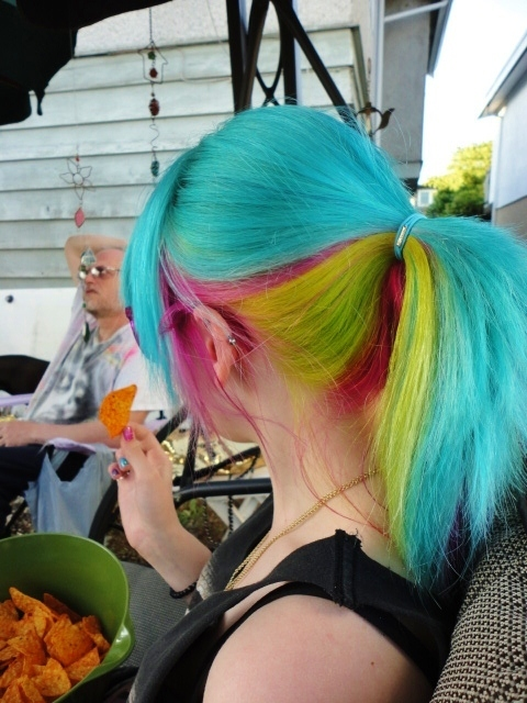 blue hair, colorfull, girl, hair dye, nachos
