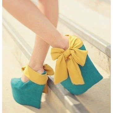 blue heels, cool, cute, fashion, green blue, high heels, photography, qesenq, yellow, yellow bow