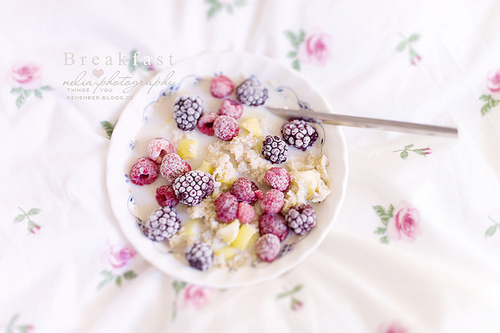 blueberries, bowl, breakfast, cereal, cute