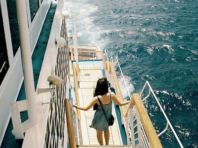 boat, dress, girl, ocean, sea