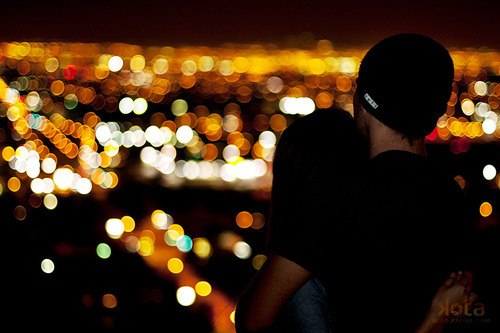 bokeh, boy, city, city lights, couples