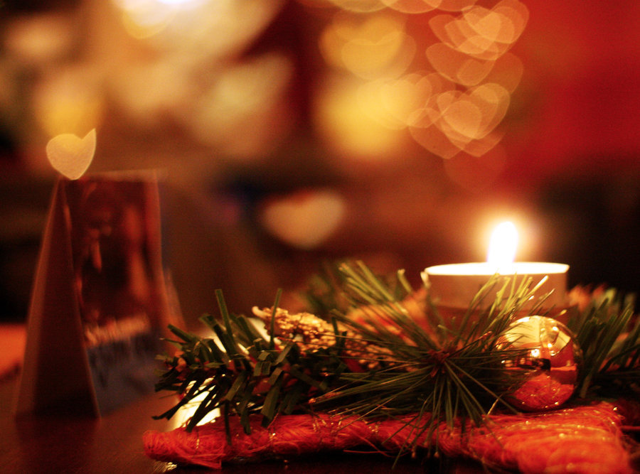 bokeh, candle, christmas, cosy, hearts