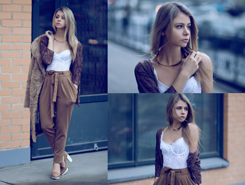 bow, brown, casual, city, corset