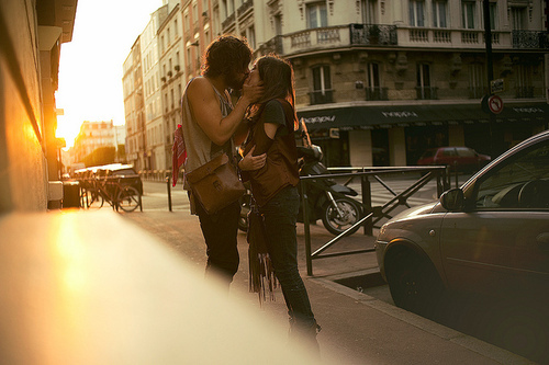 boy, city, couple, cute, girl, kiss, love, sunset