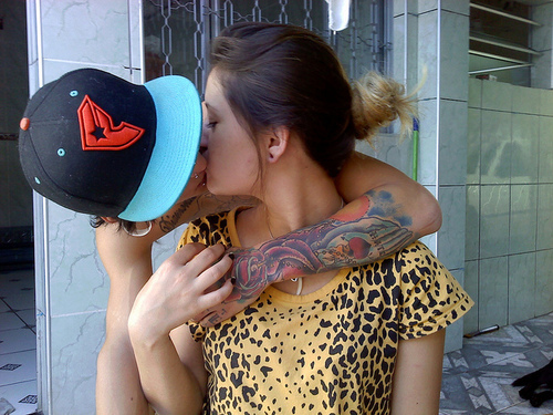 boy, cool, couple, cute, girl, hug, piercing, plugs, tattoo, tattos