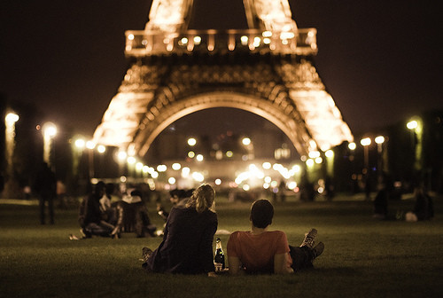 boy, eiffel, girl, lights, love