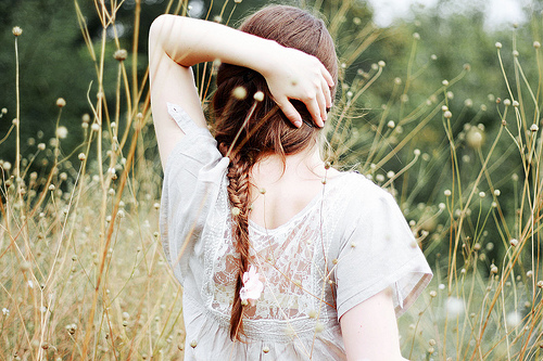 braid, field, fishtail, girl, hair
