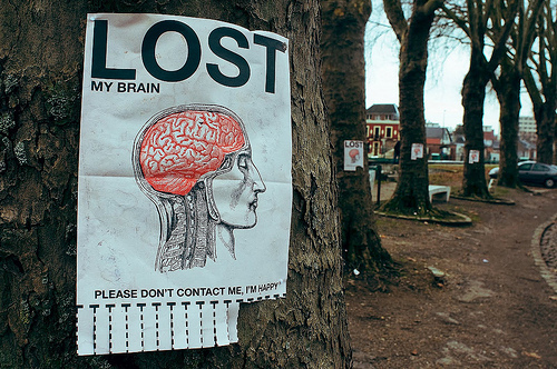 brain, content, happiness, happy, illustration, lost, lost and found, sign, tree