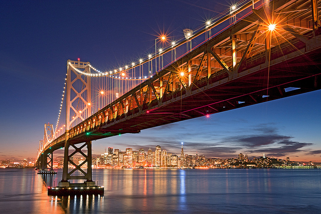bridge, cali, california, lights, night