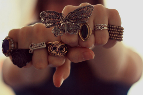 butterfly, cute, fashion, girl, hand, love, owl, rings