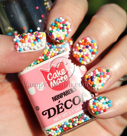 cake mate, confites, nails, nails art, nonpareils