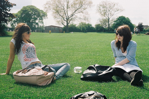 calm, cool, girl, girls, glasses, green, hair, hipster, indie, park, t-shirt, talk, vintage