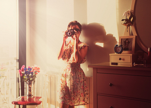 camera, cute, dress, fashion, flowers