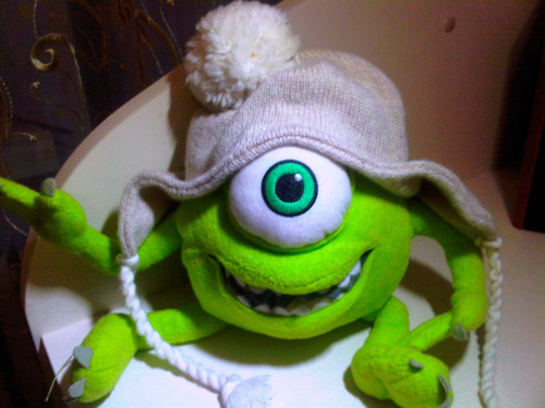 cap, ciclope, cold, cute, disney, eye, fun, funny, lol, mike, monsters, monsters inc, movie, nice, sweet, toy, wazousky, winter