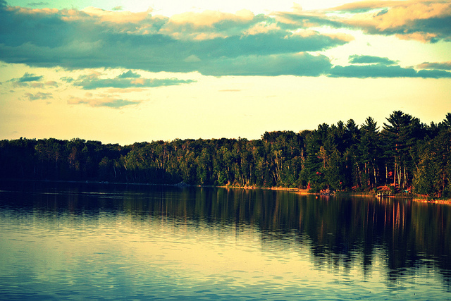 carney lake, iron mountain, lake, landscape, michigan