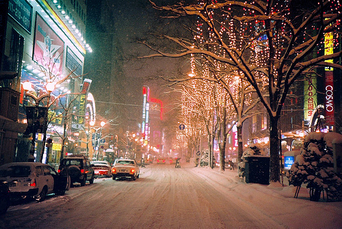cars, city, lights, night, photography, snow, street, winter