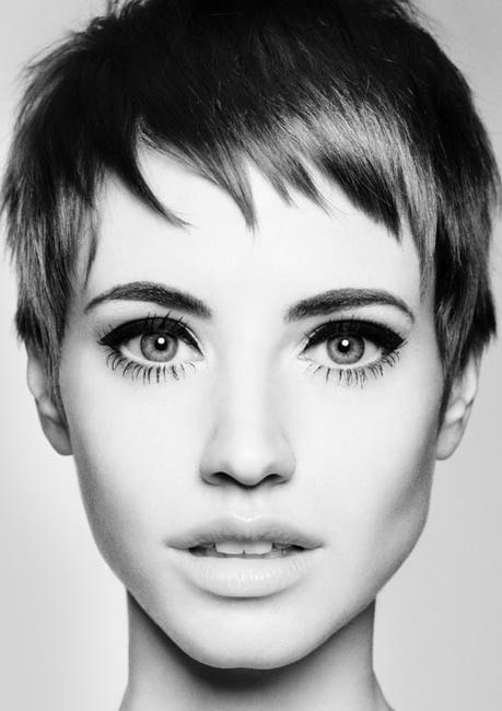 cheek bones, eye lashes, lips, model, pixie cut