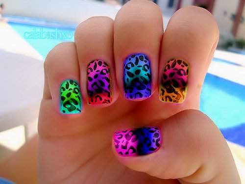 cheetah, girl, gradient, inspiration, nail art