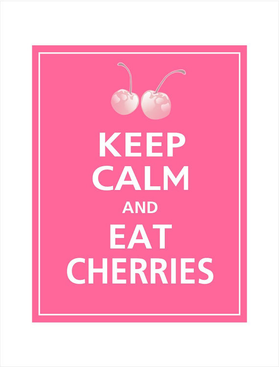 cherries, cute, keep calm, pink