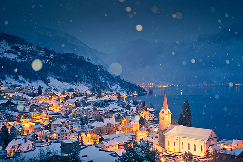 church, city, lights, photography, snow