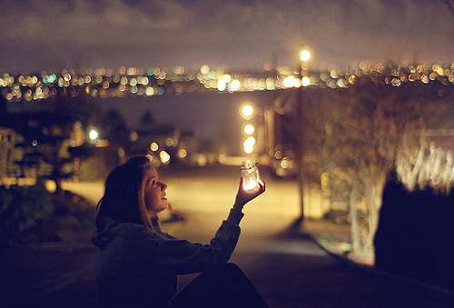 city, girl, lights, made in home, pretty