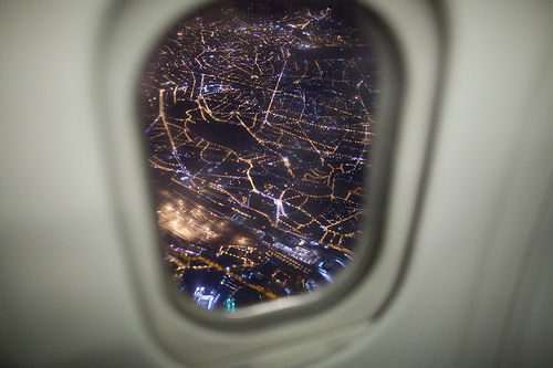 city, lights, love, plane