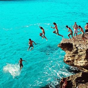cliffdive, fun, jump, ocean, sea, summer, swim, vacation, water
