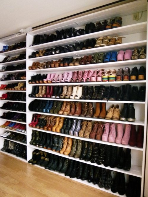 closet, collection, colorful, high heels, paradise, platforms, pumps, rack, shelves, shoe, shoes, wall, wedges