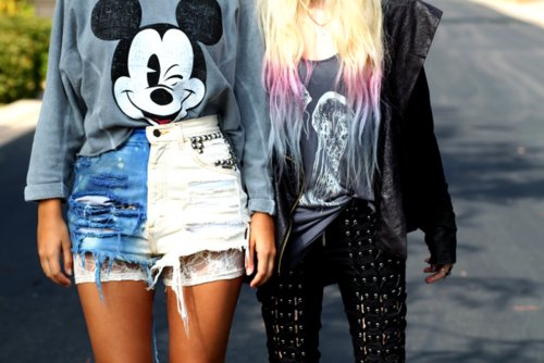 clothes, cool, dip dye, mickey mouse, shorts