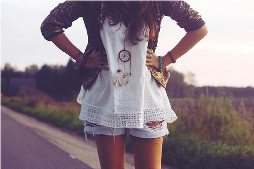 clothes, dreamcatcher, fashion, girl, hair, legs, necklace, photography, pretty, shorts, white